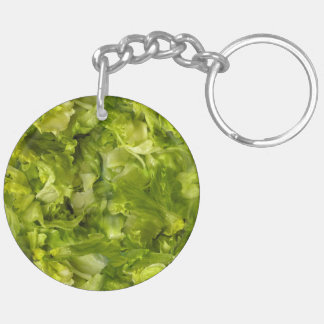 De blad Groene Sla van de Salade 2-Zijden Ronde Acryl Sleutelhanger