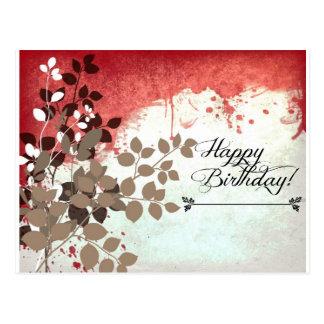 De blad Rode Gelukkige Verjaardag van de Baksteen Briefkaart