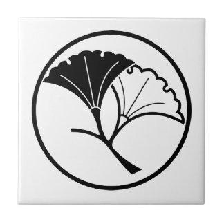 De bladeren van Yin en yang van ginkgo in threadli Keramisch Tegeltje