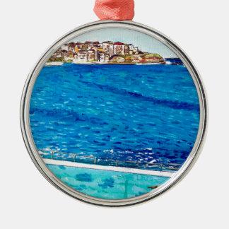 De Blauw van Bondi Zilverkleurig Rond Ornament