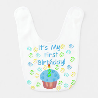 De blauwe 1st Slab van de Verjaardag Cupcake Baby Slabbetje