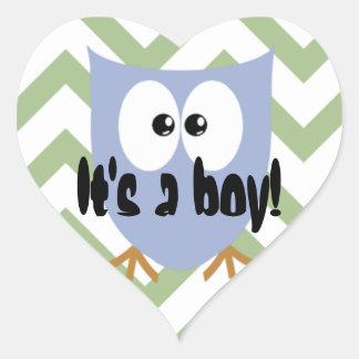 De blauwe Aankondiging van de Jongen van het Baby Hart Sticker