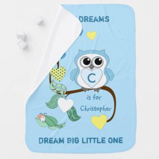 De blauwe Algemene Droom van het Baby van de Uil Baby Dekentjes