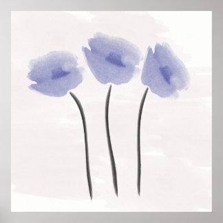 De Blauwe Anemoon van de abstracte Waterverf Poster