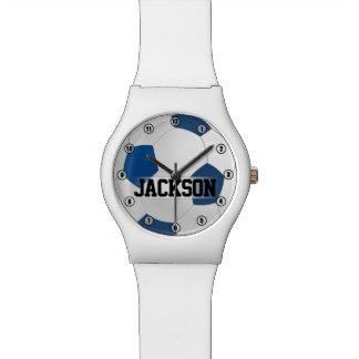 De blauwe Bal van het Voetbal met het Kind van de Polshorloge