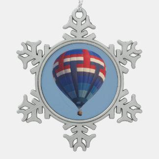 De blauwe Ballon van de Hete Lucht Tin Sneeuwvlok Ornament