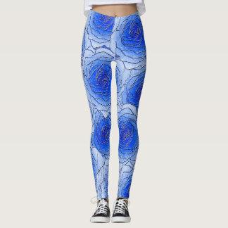 De blauwe Beenkappen van het Ontwerp van Rozen Leggings