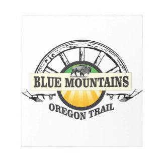 De blauwe bergen ot gaan over notitieblok