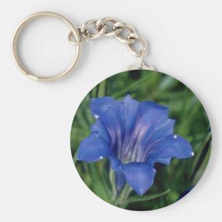 De blauwe bloemen van de Gentiaan Sleutelhanger