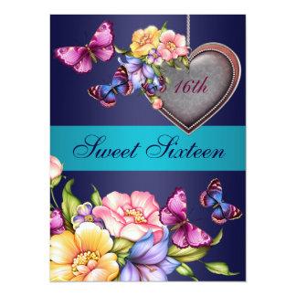 De blauwe BloemenVerjaardag van de Vlinder Sweet16 13,9x19,1 Uitnodiging Kaart