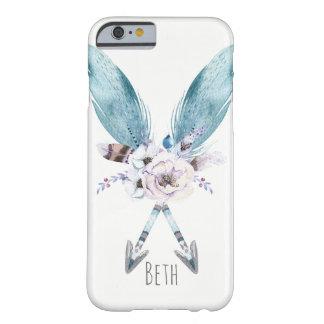 De blauwe Boheemse Elegante Veer van Pijlen Boho Barely There iPhone 6 Hoesje