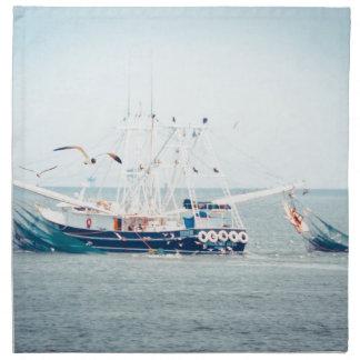 De blauwe Boot van Garnalen op de Oceaan Katoenen Servet