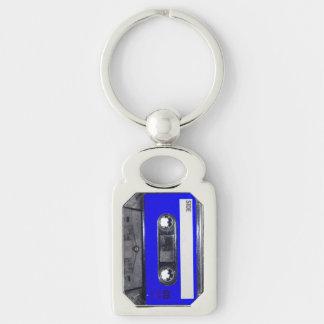 De blauwe Cassette van het Etiket Zilverkleurig Rechthoekige Sleutelhanger