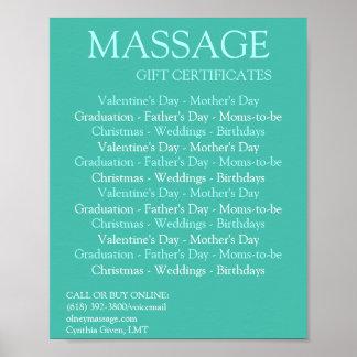 De BLAUWE certificaten van de massagegift Poster
