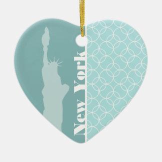 De Blauwe Cirkels van het baby; New York Keramisch Hart Ornament