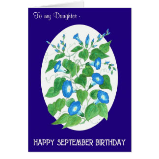 De blauwe Dochter van de Verjaardag van September Kaart