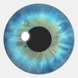 De blauwe Douane van de Oogappel van de Iris van Ronde Sticker