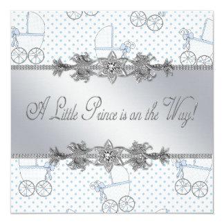 De blauwe Douche van de Prins van de Jongen van 13,3x13,3 Vierkante Uitnodiging Kaart