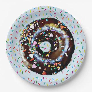 De blauwe Doughnut van de Chocolade met bestrooit Papieren Bordje