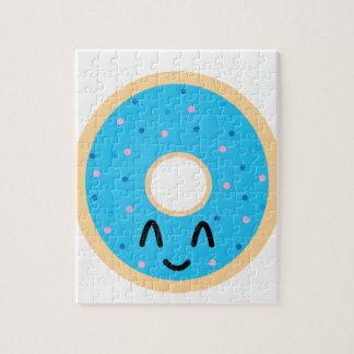 De blauwe doughnut van Emoji Legpuzzel