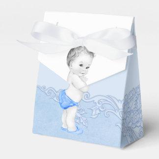 De blauwe Dozen van de Gunst van het Baby shower Bedankdoosjes