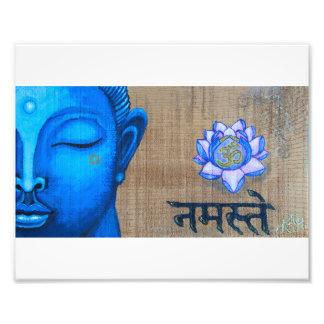 De blauwe Druk van Boedha Foto Afdruk