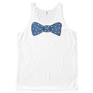 De blauwe Druk van de Vlinderdas met het Witte All-Over-Print Tank Top
