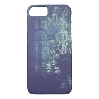De blauwe Duif van Grunge van de Zonnebloem iPhone 7 Hoesje