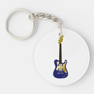 De blauwe elektrische gele gitaar bruist asblok 2-Zijden ronde acryl sleutelhanger