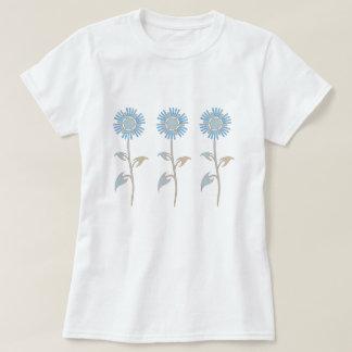 De blauwe en Beige T-shirt van de Bloem van de