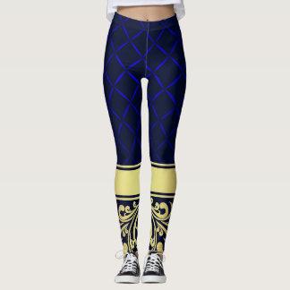 De blauwe en Gouden Beenkappen van de Mode van de Leggings