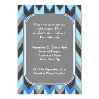De blauwe en Grijze Bar mitswa van het Patroon van 12,7x17,8 Uitnodiging Kaart