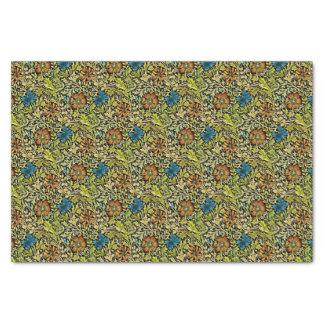 De Blauwe en Oranje Bloemen van Nouveau op Tissuepapier
