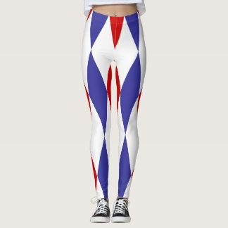 De blauwe en rode beenkappen van het leggings