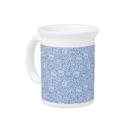 De blauwe en Witte Bloemen Vintage Stijl van het Drank Pitcher
