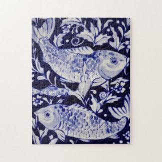 De blauwe en Witte Moeilijke Puzzel van Vissen Koi Legpuzzel