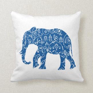 De blauwe en witte olifant werpt hoofdkussen sierkussen