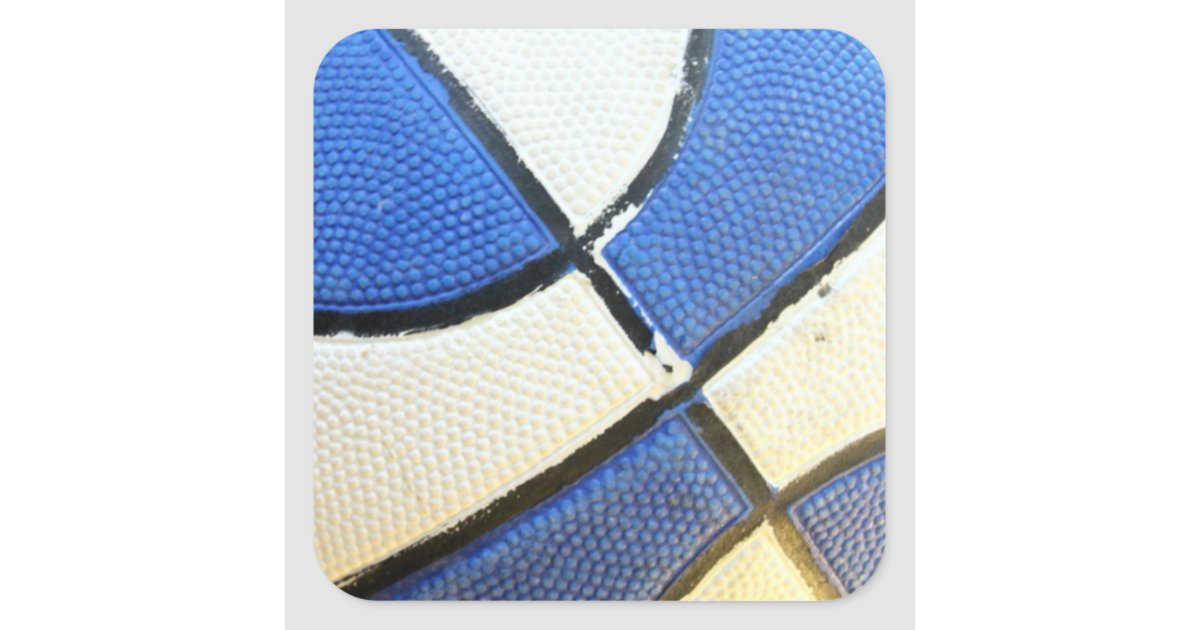 De blauwe en witte sticker van het basketbal zazzle - Sterke witte werpen en de bal ...