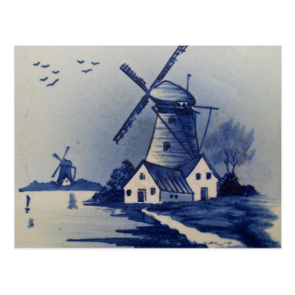 De blauwe en Witte Windmolen van Delft Briefkaart