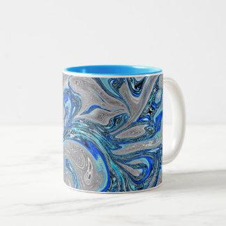 De Blauwe en Zilveren MarmerSamenvatting van de Tweekleurige Koffiemok