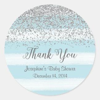 De blauwe en Zilveren Stickers van het Baby shower