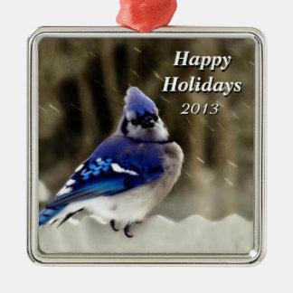 De blauwe Foto van de Vlaamse gaai Zilverkleurig Vierkant Ornament