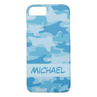 De blauwe Gepersonaliseerde Naam van de Camouflage iPhone 8/7 Hoesje