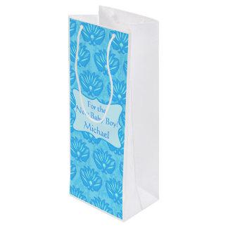 De blauwe Gepersonaliseerde Naam van de Jongen van Wijn Cadeautas