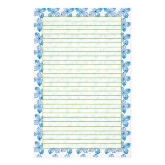 De blauwe Gevoerde Bloemen van de Waterverf van de Briefpapier