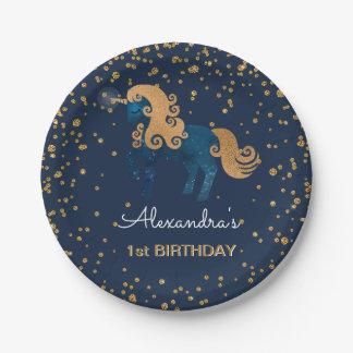 De blauwe & Gouden 1st Verjaardag van de Eenhoorn Papieren Bordje
