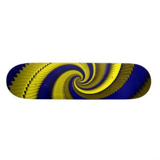 De blauwe Gouden Spiraalvormige Schalen van de Skateboard Deck