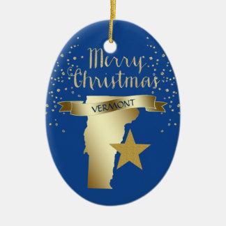 De blauwe Gouden Ster van Vermont Keramisch Ovaal Ornament