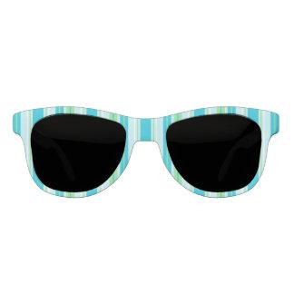 De Blauwe, Groene en Witte Strepen van Aqua Zonnebril