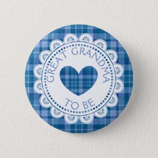 De blauwe Grote Oma van de Plaid om Knoop te zijn Ronde Button 5,7 Cm
